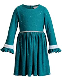 Girls' Long Sleeve All Over Foil Dot Dress with Faux Fur Trim