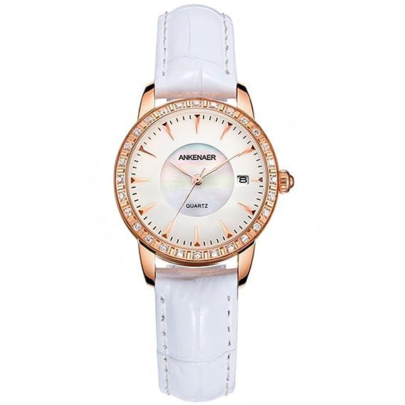 Moda rhinestone reloj mujeres de, Correa de cuero Cuarzo Resistente al agua de 50 m