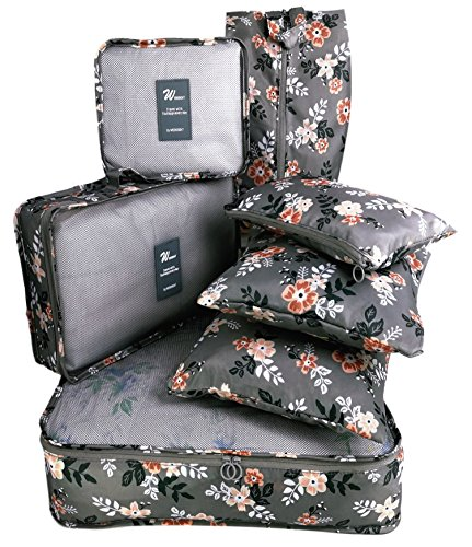Packing Cubes 7 pcs my FL Backpack Organizers Set for Carry on Travel Bag Luggage Cube (Light Gray Flowe) from my FL