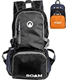 Roam Packable Backpack - Lightweight Foldable Daypack Water-Resistant, 25L, Durable Tear-Resistant Nylon Weave - Daypack for Travel, Hiking, Backpacking, Camping, Outdoors, Beach, (True Black)