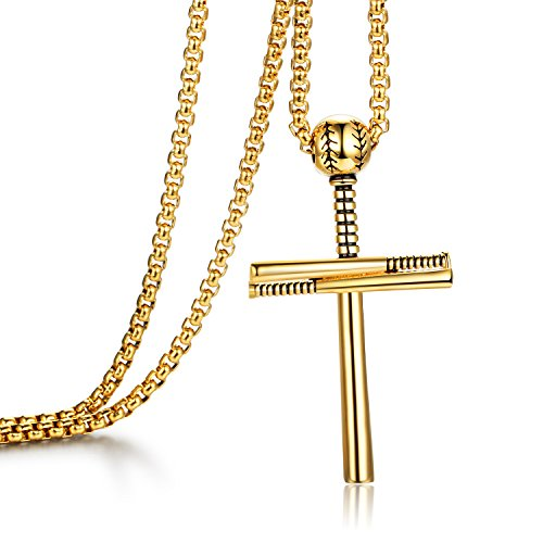 SYANGPANG Cross Necklace by Pendant for Men Women Athletes Sport Stainless Steel Baseball and Base Baseball bat Necklace (Cross Necklace Gold)