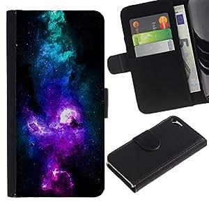 All Phone Most Case / Oferta Especial Cáscara Funda de cuero Monedero Cubierta de proteccion Caso / Wallet Case for Apple Iphone 5 / 5S // NEON PURPLE BLUE GALAXY