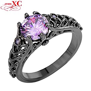 Dudee Jewelry Elegant Anel Anies Amethyst Ring Black Gold Filled Cubic
