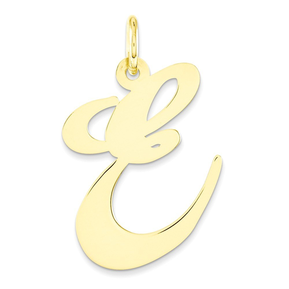 Mia Diamonds 14k Yellow Gold Large Fancy Script InitialE Charm