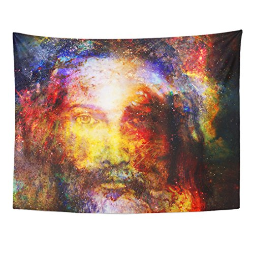 Emvency Tapestry Blue Face Jesus Christ Painting with Radiant Colorful Energy of Light in Cosmic Space Eye Contact God Home Decor Wall Hanging for Living Room Bedroom Dorm 60x80 inches