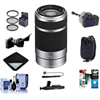 Sony 55-210mm f/4.5-6.3 OSS E-Mount NEX Camera Lens, Silver/Black - Bundle With 49mm Filter Kit, Flex Lens Shade, DSLR Follow Focus & Rack Focus, Soft Lens Case, Lens Wrap, Cleaning Kit And More