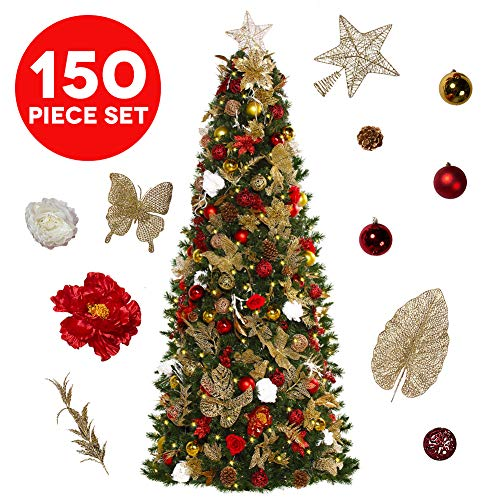 Easy Treezy Assorted Christmas Ornaments Set, 152 Piece Seasonal Holiday Decor Decoration Sets for Trees, Best Xmas Tree Decorations and Ornaments Balls (Historic Ornament Decor Kit (152 Pieces) (Tree Set Christmas Decorations)