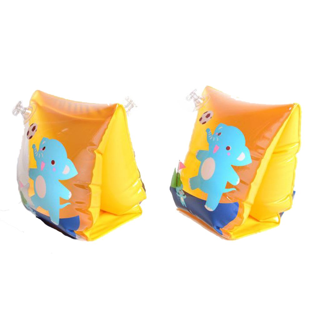 ED-Lumos Orange Elephant Inflatable Baby Swim Arm Bands for Begin to Swim
