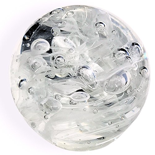 WHW Whole House Worlds Crystal Clear Tidal Bubbles Paperweight, Handcrafted Art Glass,3 1/4 D x 3 1/4 H Inches