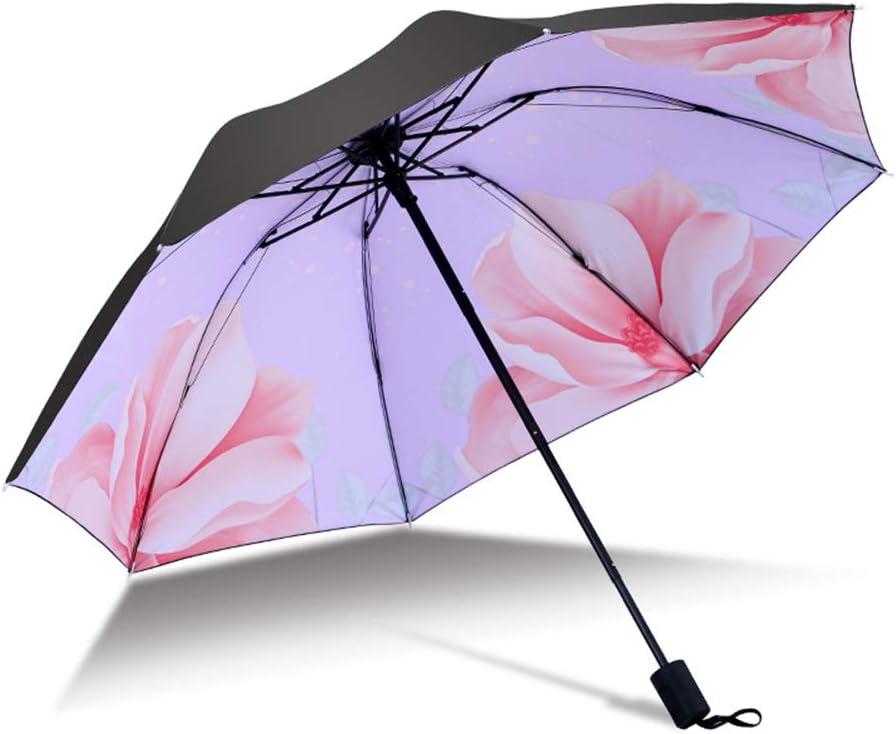 JUNDY Paraguas Plegable a Prueba de Viento de la protección Solar de la Moda Paraguas Paraguas de Transferencia de Calor de plástico Negro de Tres Pliegues de color8 96cm: Amazon.es: Hogar