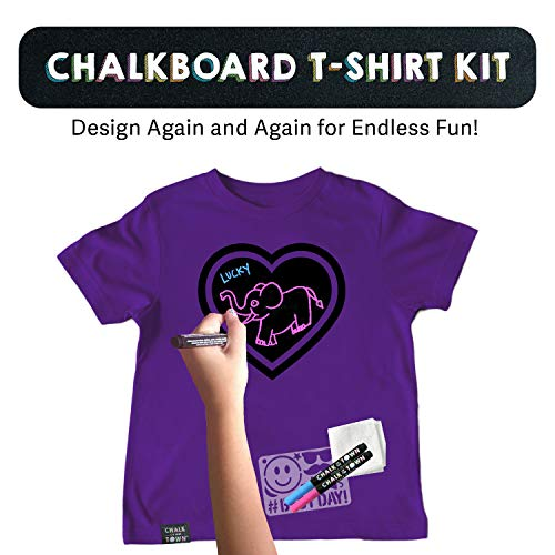 Chalk of the Town Purple Heart Chalkboard Short Sleeve T-Shirt Kit for Kids with 3 Markers and Candy Stencil (Youth Large)