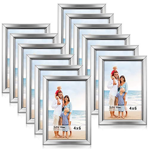 LaVie Home 4x6 Picture Frames (12 Pack, Silver) Simple Designed Photo Frame with High Definition Glass for Wall Mount & Table Top Display, Set of 12 Classic Collection