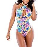 ROPALIA Women Bodycon Floral Halter Backless Bikini Swimwear One Piece