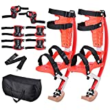 AMPERSAND SHOPS Skid-Proof Junior Jumping Bouncing Kangaroo Stilts Shoes Exercise Sports Gear with Protective Wrist Elbow and Knee Pads Plus Carrying Case