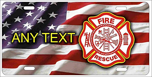 - ATD Fire Rescue Maltese cross on American flag fire dept personalized novelty front license plate decorative vanity car tag can also be used as a door sign
