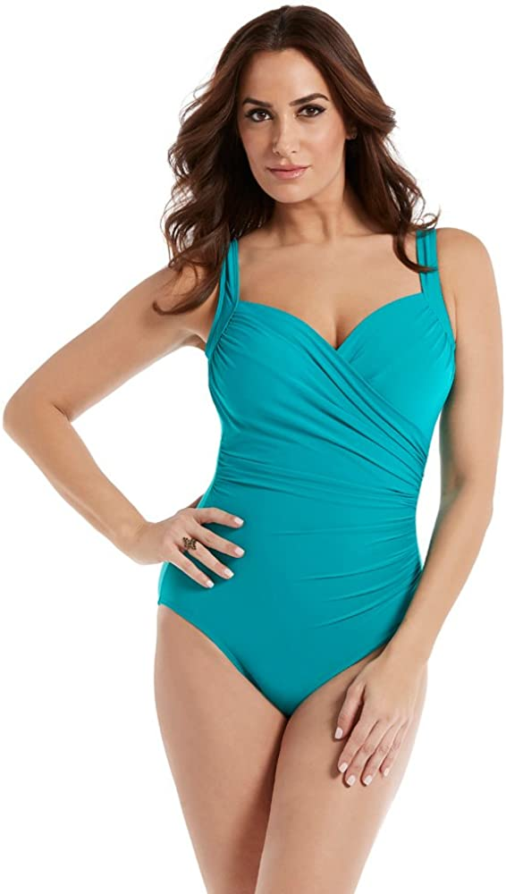 Miraclesuit Women's Must Haves Sanibel Underwire One Piece Swimsuit with Sweetheart Neckline Adjustable Straps, Amalfi, 16