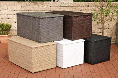 CLP Auflagenbox Kissenbox Poly-Rattan, ALU Gestell, bis zu 5 Farben + 3 Größe wählbar XL = 740 Liter, braun-meliert