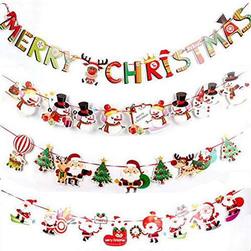 4pcs 2018 DIY papercard Xmas Christmas Banners Letter Santa Claus Snowman Tree Hanging Bunting Garland, Ornaments for Home Office Hotel Yard Wall Party Decoration Supplies