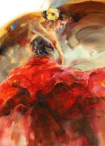 Real Hand Painted Spanish Ballet Dancer Flamenco Red Dress Canvas Oil Painting for Home Wall Art Decoration, Not a Print/ Giclee/ Poster, FRAMED, Ready to Hang (Frame Dancer)