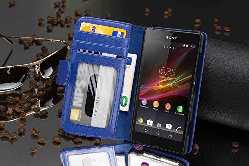 Cadorabo - Funda Sony Xperia Z Book Style de Cuero Sintético en Diseño Libro - Etui Case Cover Carcasa Caja Protección con Tarjetero en BURDEOS-VIOLETA AZUL-REAL