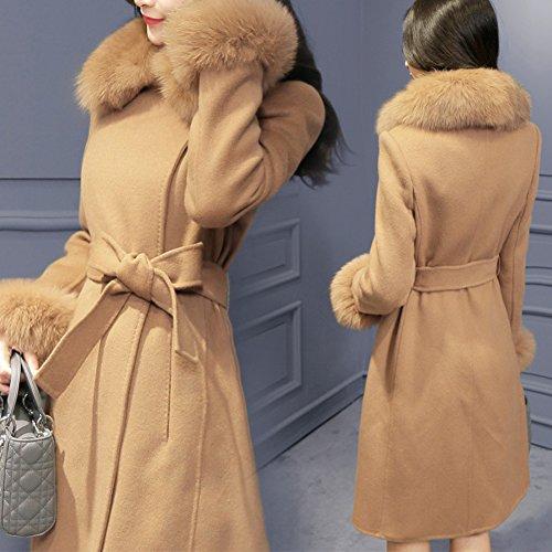 Eco Di Parka Outwear Giacca Spessore Collare Cardigan Di Donne Superiore Cintura pelliccia Aperta Giallo Lunga Caldo Manica Cappotto Delle R5OAaqH5