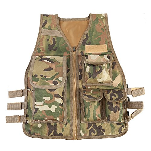 Acu Body Armor - Children Vest, Adjustable Outdoor Nylon CS Game Airsoft Molle Vest ( Color : CP )