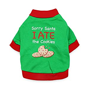 DroolingDog Dog Christmas Shirt Dog Xmas Clothes Pet Holiday Costume SORRY SANTA I ATE THE COOKIE for Small Dogs, Large