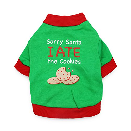 - DroolingDog Dog Christmas Shirt Dog Xmas Clothes Pet Holiday Costume SORRY SANTA I ATE THE COOKIE for Small Dogs, Medium