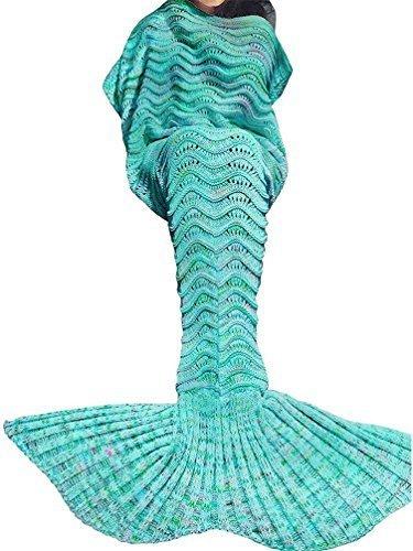 SZXKT Mermaid Tail Blanket For Kids Teens Adult Handmade Wav