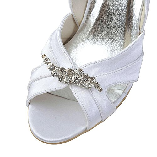 Evening Women's Party Sandals Prom Kevin Fashion MZ1216 Cut White Bridal Formal Wedding out Satin vfpqw7zxEf