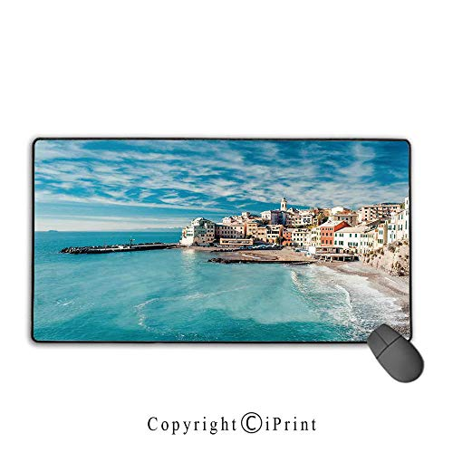 Lion Italian Charm - Extended Mousepad with Durable Stitched Edges,Farm House Decor,Panorama of Old Italian Fish Village Beach Old Province Coastal Charm Image,Turquoise,Ideal for Desk Cover, Computer Keyboard, PC and Lap