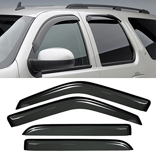 VioGi New 4pcs For 97-13 Expedition Wind Dark Smoke Out-Channel/Outside Mount Style Wind Sun Rain Guard Vent Shade Deflector Window Visors (Window Shield Replacement)