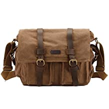 Kattee Classic Military Canvas Shoulder Messenger Bag Leather Straps Fit 16 inch Laptop (Coffee)