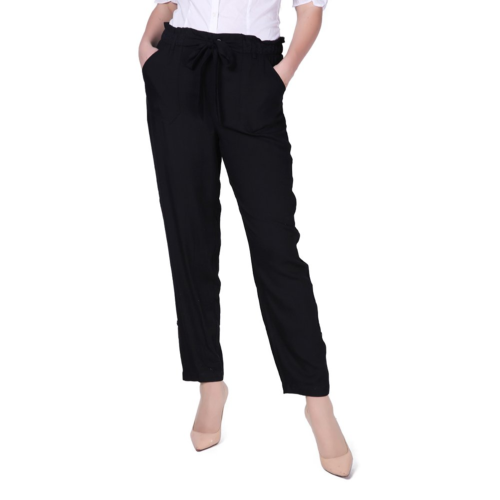 Weavers Women Black Casual Relaxed Fit Wide Leg High Waist Pants