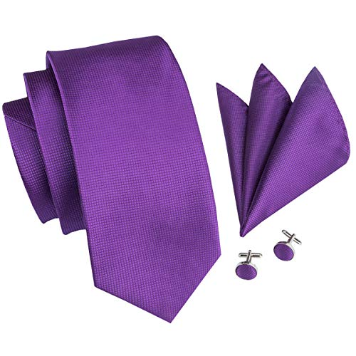 (Hi-Tie Men Classic Purple Solid Tie Necktie with Cufflinks and Pocket Square Tie Set)