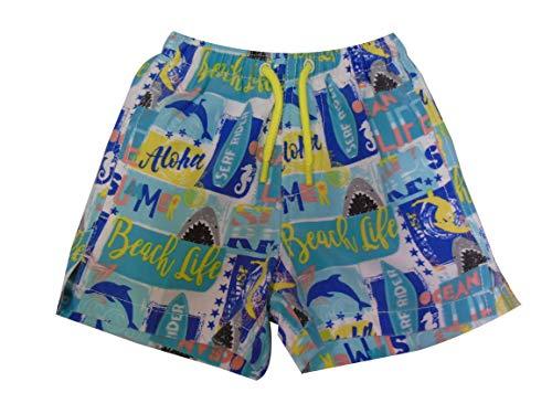 INGEAR Little Boys Quick Dry Beach Board Shorts Kids Swim Trunk Swimsuit Beach Shorts with Mesh Lining (Ocean Life, 6/7) -