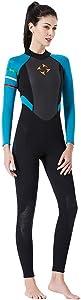 Jeeke Women 3mm Diving Suit Full Body Scuba Wetsuit Surf Swimming Jumpsuit Long Sleeve Keep Warm Back Zip for Water Sports