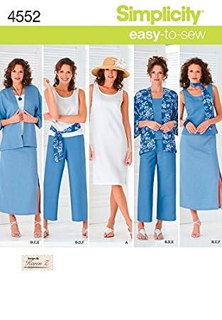 Simplicity Damen Easy Schnittmuster 4552 Kleid, Top, Kimono Jacke ...