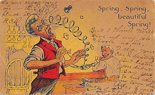Clocks Post Card Clock Comic Postcard Postal Used Unknown, Missing Stamp