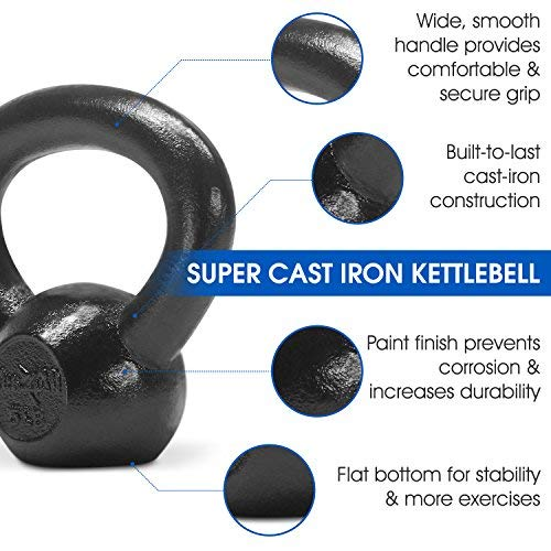 Yes4All Solid Cast Iron Kettlebell Weights Set – Great for Full Body Workout and Strength Training – Kettlebell 5 lbs (Black) by Yes4All (Image #3)