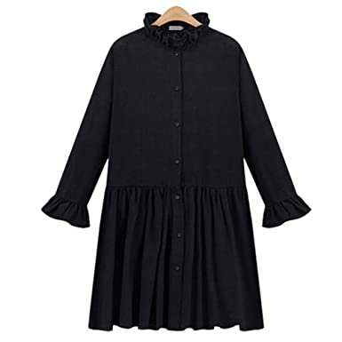 Stevenurr Fashion Women Pleated Winter Dress 2018 Long Sleeve Ruffles Neck A-Line Solid Mini