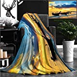 """Unique Custom Flannel Blankets Traditional Thai Boats At Sunset Beach Ao Nang Krabi Province Super Soft Blanketry for Bed Couch, Twin Size 70"""" x 60"""""""