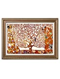 DecorArts- The Tree of Life, Gustav Klimt Art Reproduction, Giclee Print on Canvas, Museum Framed Art for Home Decor, Finished Size: 36x26''