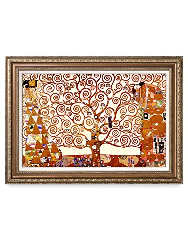 Gustav Klimt Reproductions - DecorArts- The Tree of Life, Gustav Klimt Art Reproduction, Giclee Print on Canvas, Museum Framed Art for Home Decor, Finished Size: 36x26