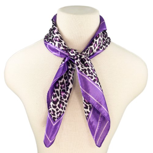 Elegant Silk Feel Leopard Animal Print Square Scarf, Purple