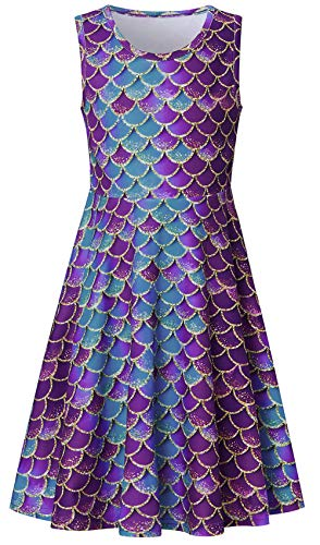 Girls Sleeveless Dress 3D Print Cute Mermaid Fish Scale Pattern Summer Dress Casual Swing Theme Birthday Party Sundress Toddler Kids Twirly Skirt]()