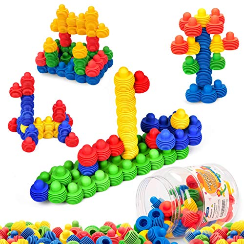 MECY STEM Toys Kids Educational Toys Building Blocks Building Column Sets Interlocking Soft Plastic for Preschool Kids Boys and Girls, Safe Material for Kids - 60 pieces with Storage Tub (School Building Pre Toys)