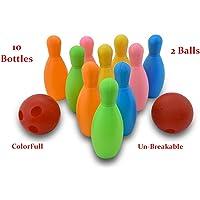 ToyMart Bowling Game Set ( 10 Bottles & 2 Balls ) (multi color )
