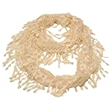 Girls Ivory Solid Color Lace Edges Crochet Leafy Accents Circular Scarf
