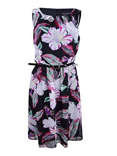 Connected Women's Belted Floral-Print Dress (16, Fuschia)